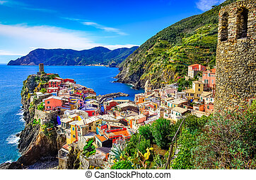 Scenic view of colorful village Vernazza in Cinque Terre