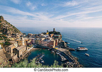 Scenic view of colorful village Vernazza in Italy