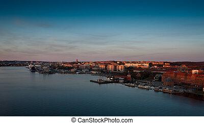 Scenic view of gothenburg harbour