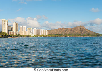 Scenic view of Honolulu city and Diamond Head