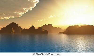 Scenic view of islands during sunset