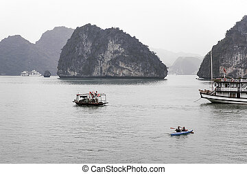 Scenic view of islands in Halong Bay, Vietnam, Southeast...