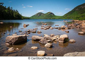 Scenic view of Jordan Pond in Acadia National Park