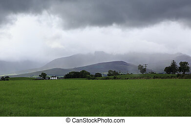 Scenic view of Kerry Mountains in thunderclouds