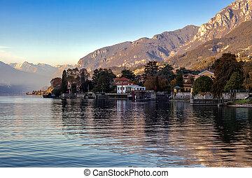 Scenic view of Lake Como from Mandello del Lario