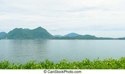 Scenic view of lake Maggiore. Nature and sky, Italy.