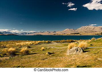 Scenic view of lake tekapo