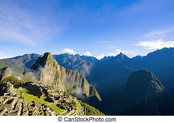 Machu Picchu - Scenic view of Machu Picchu in morning light