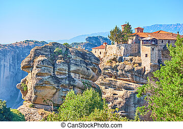 Scenic view of Monastery in Greece - Scenic view of The Holy...