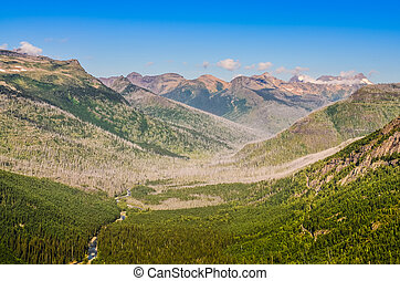 Scenic view of Mountain valley in Glacier NP, USA
