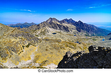 Scenic view of mountains and lakes in High Tatras