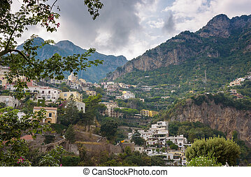 Scenic view of Positano on a cloudy day