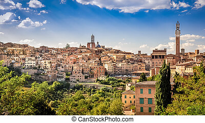Scenic view of Siena town and historical houses, Tuscany, ...