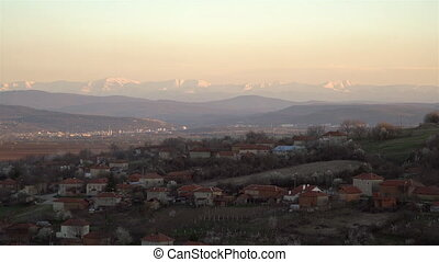 Scenic view of Slavyani village with Lovech city in the...