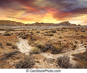 scenic view of sunset in a desolate landscape, Utah
