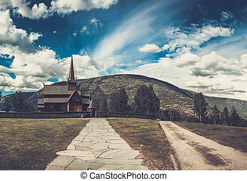 Scenic view of the ancient Lom Stave church.