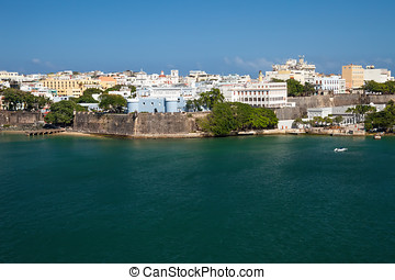 San Juan, Puerto Rico - Scenic view of the city of old San...