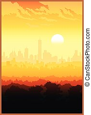 Stylized vector illustration of a scenic view of the big city. Seamless horizontally if needed