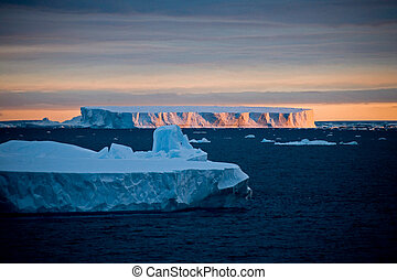 Scenic view of the glaciers with sunset