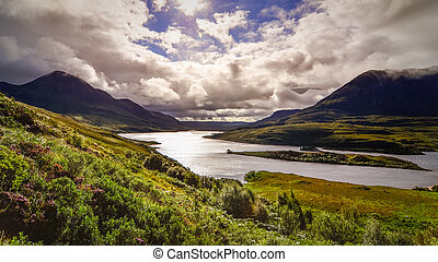 Scenic view of the lake and mountains, Inverpolly, Scotland, United Kingdom