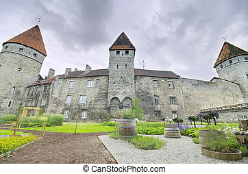 Scenic view of the old medieval city of Tallinn, Estonia in...