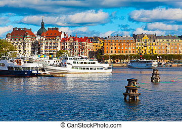 Scenic view of the Old Town in Stockholm, Sweden
