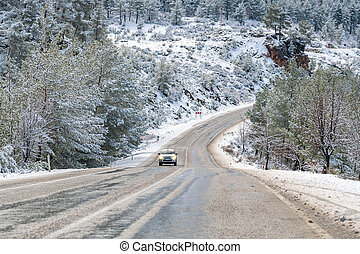 scenic view of the road in the forest with snow covered.