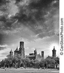 Scenic view of the Smithsonian Castle, landmark on the Mall,...