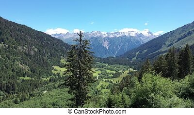 Great majestic landscape view of natural Swiss Alps in the Grisons canton