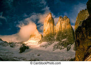 Torres del Paine - Scenic view of Torres del Paine in south...