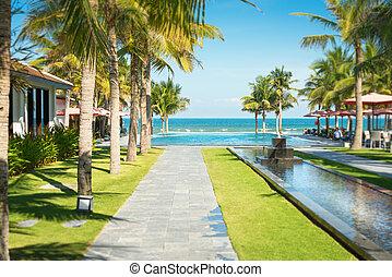 Scenic view of tropical resort in Vietnam. - Scene of...
