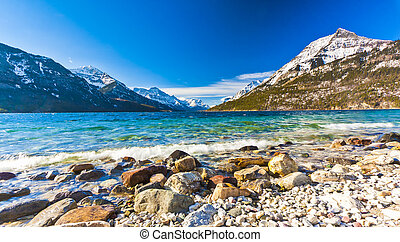 Scenic View of Waterton Lake National Park, Alberta Canada