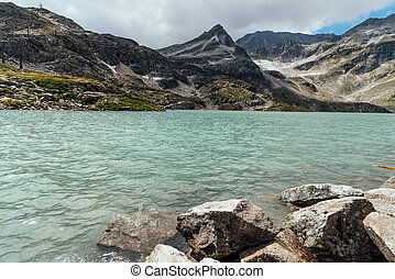 Scenic view of Weissee lake in Alps