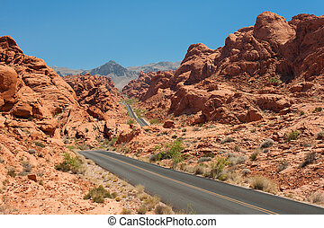 Scenic view on the road in the Valley of Fire