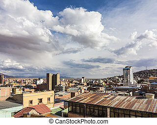 scenic view over city of Oruro in the Andes