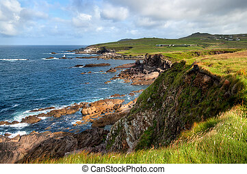 Scenic view over cliffs on County Antrim coast