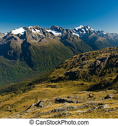 view from harris saddle - scenic view over fiordland, view ...