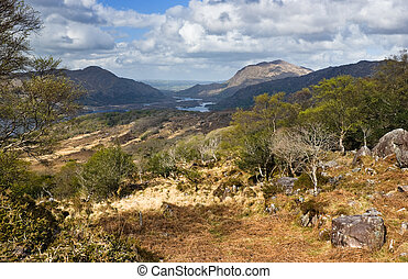 Scenic view over lakes and mountains in Ring of Kerry, Republic of Ireland, Europe