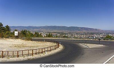 scenic view over macedonians capitol skopje - macedonian ...