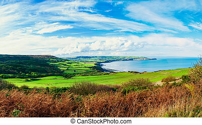 Scenic View over of Robin Hoods Bay in Ravenscar, North Yorkshire, England