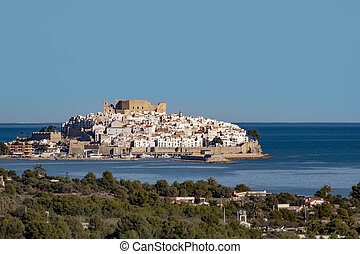 view to castle of Peniscola near Valencia in Spain