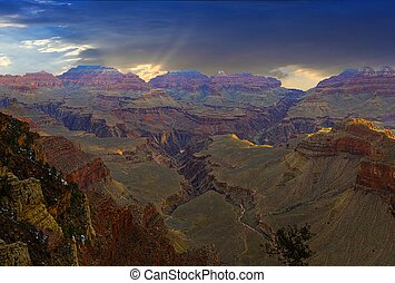 view to grand canyon in sunset