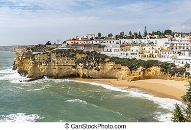 view to romantic fishermen village carvoeiro at the Algarve in Portugal