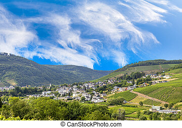 view to village of Zell at the Moselle valley
