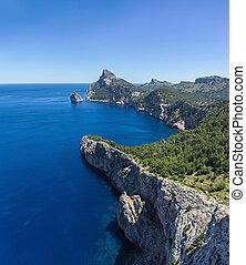 Scenic views of the famous Cape de Formentor, Mallorca Spain