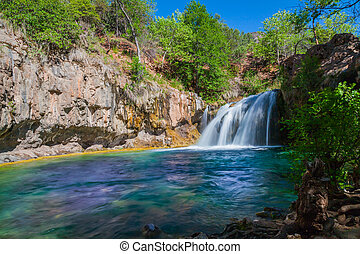 Scenic Waterfall - a scenic waterfall along fossil creek in...
