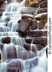 Scenic waterfall with water flowing over rocks