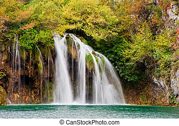 Scenic Waterfall - Scenic waterfall in a picturesque autumn...