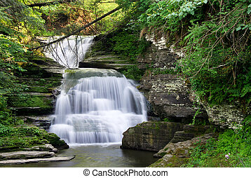 Small slow motion waterfall cascading over rocks with beautiful lush vegetation. This falls is in Robert H Treman state park in New York