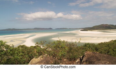 Scenic white beach - A moving shot of a beautiful white...